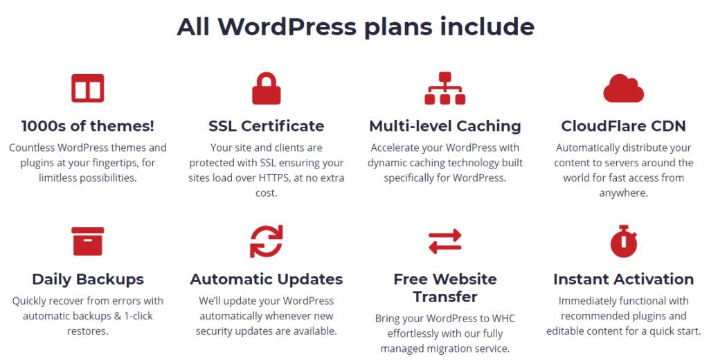 wordpress hosting features